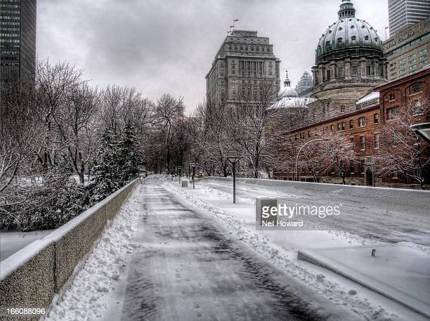 A Snow covered path in Downtown Montreal