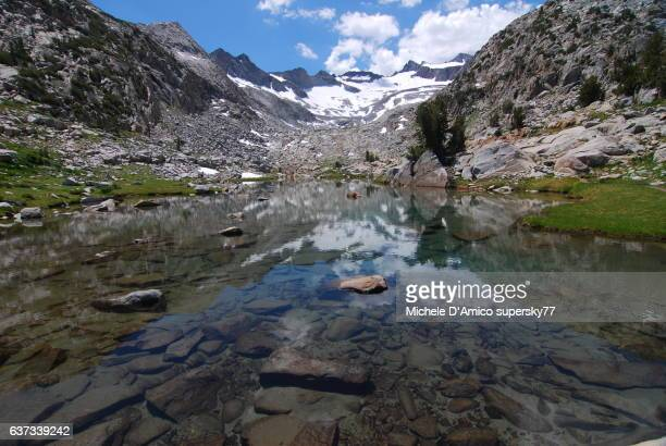 Snow covered peak reflecting in an alpine pond