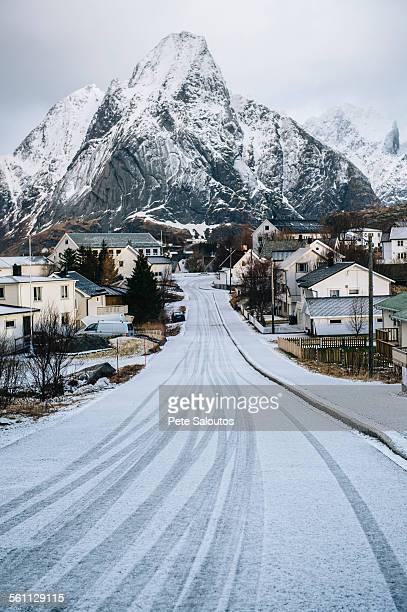 Snow covered road through Reine, Lofoten, Norway