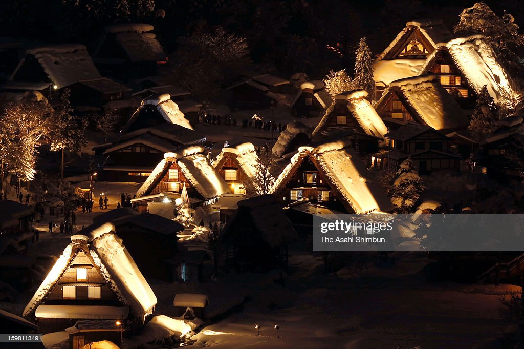 Snow covered Shirakawa-go World Heritage site is illuminated on January 19, 2013 in Shirakawa, Japan. The annual illumination is held on Saturdays until February 16, January 27 and February 3.