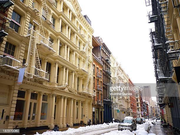 Snow covered Soho street