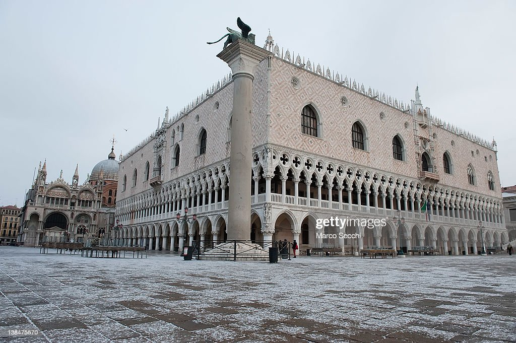 A snow covered St Mark's Square on February 7, 2012 in Venice, Italy. Italy, like most of Europe, is experiencing freezing temperatures, with the Venice Lagoon freeezing for the first time in over 20 years.