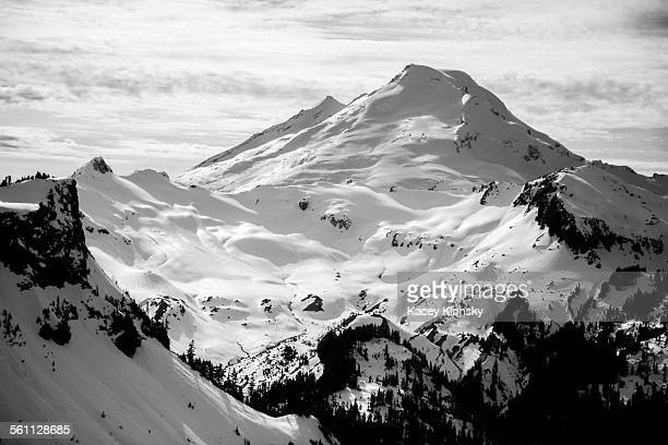 Snow covered view of Mount Baker, Washington, USA