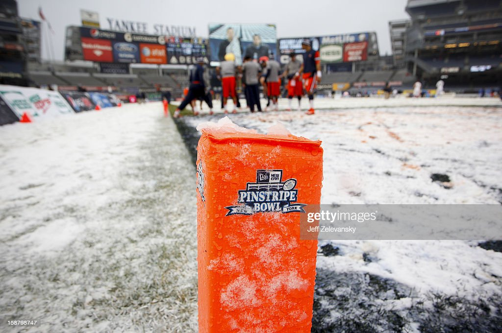 Snow covers a goal marker before the New Era Pinstripe Bowl between West Virginia Mountaineers and the Syracuse Orange at Yankee Stadium on December 29, 2012 in the Bronx borough of New York City.