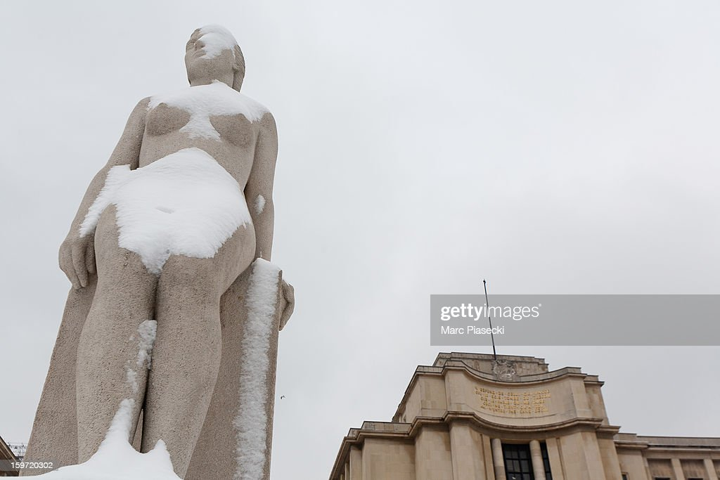 Snow covers a statue near the Palais de Chaillot on January 19, 2013 in Paris, France. Heavy snowfall fell throughout Europe and the UK causing travel havoc and white layers of pretty scenery.