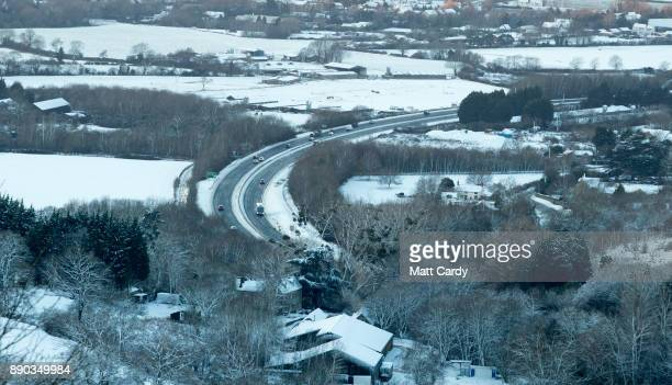 Snow covers fields close to the village of Birdlip on December 11 2017 in Gloucestershire England Temperatures continue to plummet across the UK this...