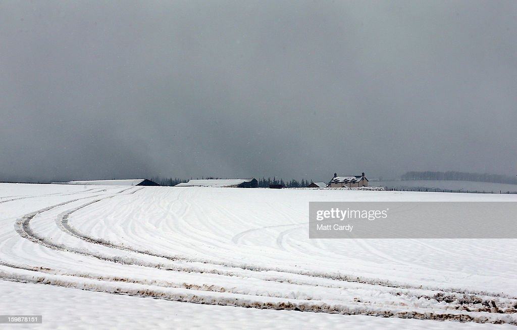 Snow covers fields near to Exford on January 22, 2013 on Exmoor, England. Snow and ice is continuing to cause disruption to some parts of the UK with more snow forecast for the South West tonight.