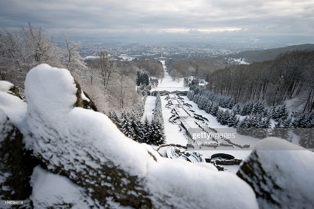 Snow covers fountains on January 11, 2012 in Kassel, center Germany.