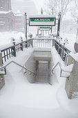 Snow covers the barred entrance to Arlington MBTA station iduring winter storm Neptune which dropped over a foot of snow February 15 2015 in Boston...