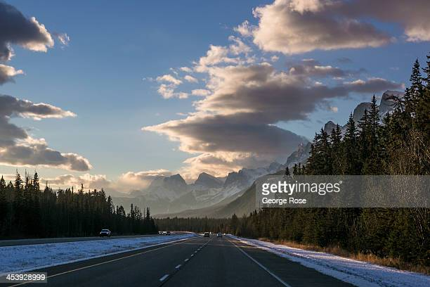 Snow covers the Canada Highway 1 mountain landscape between Calgary and Banff on November 9 2013 near Canmore Alberta Canada The region experienced...