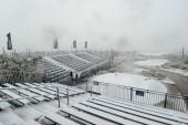 Snow covers the first hole tee and the grandstands as play was suspended during the first round of the World Golf Championships Accenture Match Play...