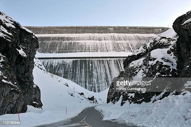 Snow covers the Grande Dixence Dam on March 22 2011 in Heremence Switzerland Opened in 1965 after 15 years of construction measuring 285 metres high...