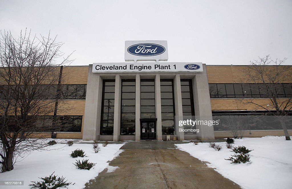 Snow covers the ground in front of the Ford Motor Co. Cleveland Engine Plant stands in Brook Park, Ohio, U.S., on Thursday, Feb. 21, 2013. Ford Motor Co. said it will invest $200 million to make four-cylinder engines at the plant starting in late 2014 as the second-largest U.S. automaker equips an increasing number of models with smaller, more fuel-efficient powertrains. Photographer: David Maxwell/Bloomberg via Getty Images