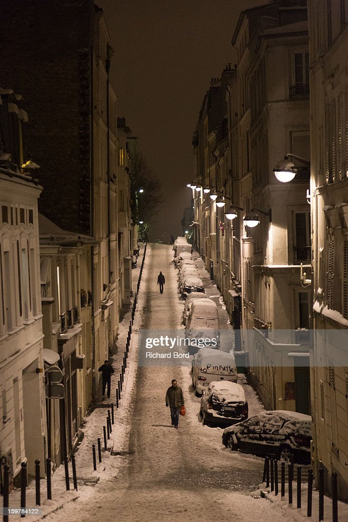 Snow covers the ground of Montmartre neighborhood on January 19, 2013, in Paris, France. Heavy snowfall fell throughout Europe and the UK causing travel havoc and white layers of pretty scenery.