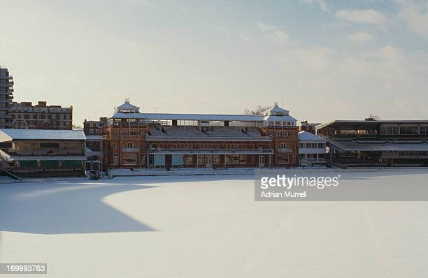 Snow covers the pitch at Lord's Cricket Ground London January 1985