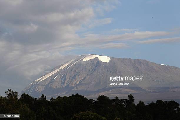 Snow covers the top of Kilimanjaro on day one of the Martina Navratilova Mt Kilimanjaro Climb on December 6 2010 in Arusha Tanzania Martina...