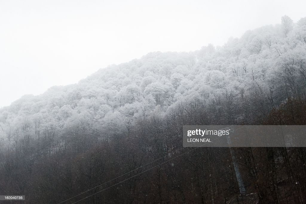 Snow covers the treetops on the slopes in Rosa Khutor in Sochi, Russia, on February 18, 2013. With a year to go until the Sochi 2014 Winter Games, construction work and development continues as Olympic tests events and World Championship competitions are underway.