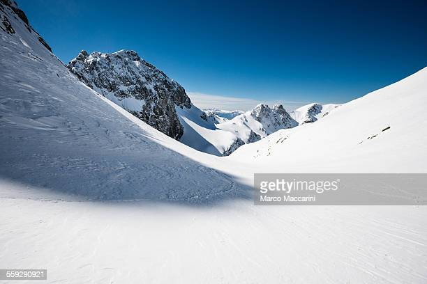 Snow cowered winter mountain landscape