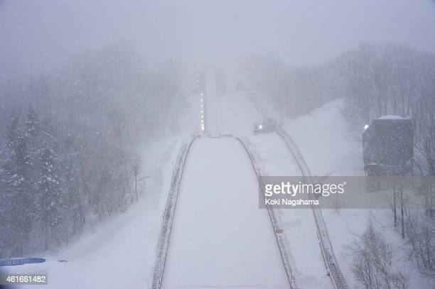 Snow drops as the 1st competition is canceled due to weather in the Normal Hill Individual 1st round during the FIS Women's Ski Jumping World Cup Zao...