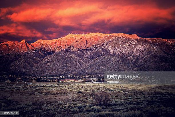 Snow Dusted Sandia Mountains at Magic Hour