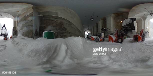 Snow equipement is kept at the House Carriage Entrance of the US Capitol during a whiteout situation January 23 2016 in Washington DC Heavy snow...