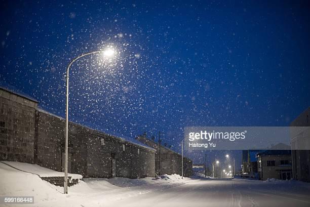 Snow falling in Nakafurano, Hokkaido, Japan