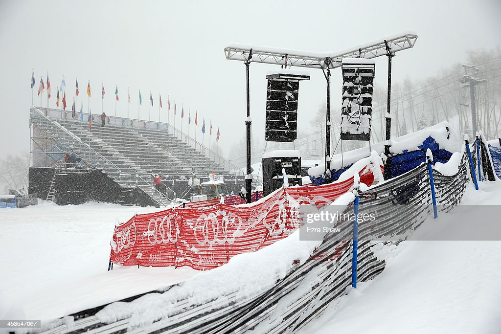 Snow falls at the finish area of the Birds of Prey FIS Ski World Cup course on December 4, 2013 in Beaver Creek, Colorado. Downhill training for the World Cup race was cancelled for excessive snow.