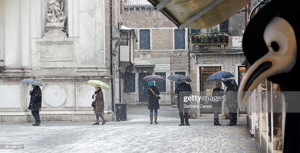 Snow falls near Campo San Toma during heavy snow on February 11, 2013 in Venice, Italy. Heavy snow, rain and wind hit the canals as boats moved commuters across the islands.