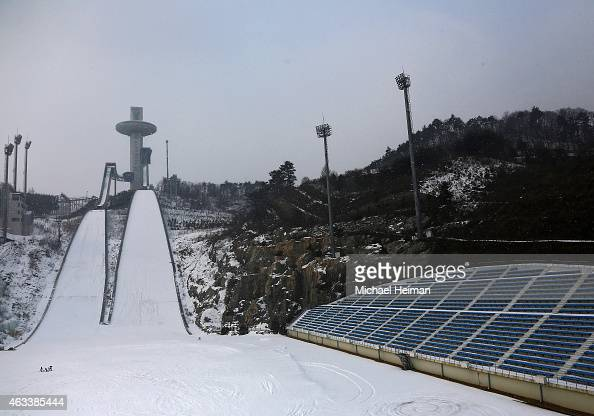 Snow falls on the Alpensia Ski Jumping Centre in Alpensia Sports Park is seen on February 10 2015 in the mountain cluster of Pyeongchang South Korea...