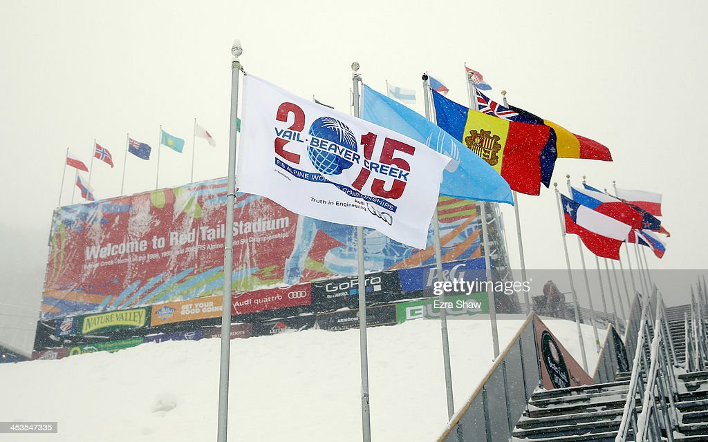 Snow falls on the Birds of Prey FIS Ski World Cup grandstands and stairs on December 4, 2013 in Beaver Creek, Colorado. Downhill training for the World Cup race was cancelled for excessive snow.
