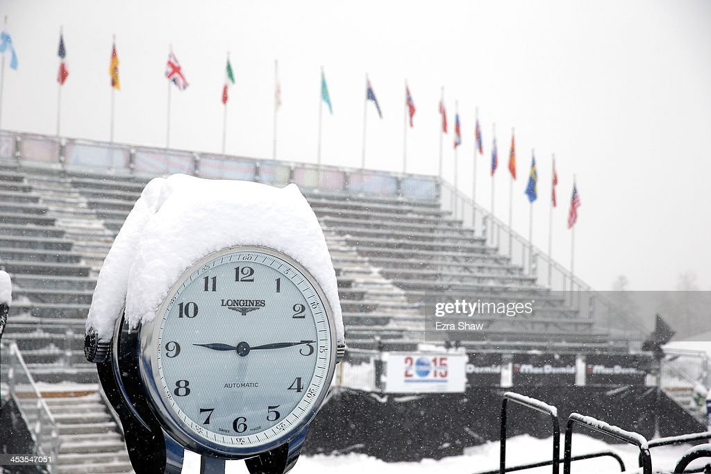Snow falls on the empty grandstands of the Birds of Prey FIS Ski World Cup course on December 4, 2013 in Beaver Creek, Colorado. Downhill training for the World Cup race was cancelled for excessive snow.