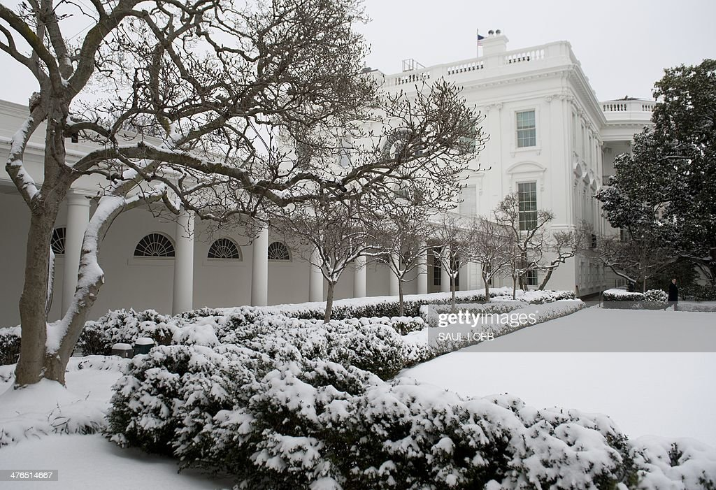 Snow falls over the Rose Garden and West Wing Colonnade of the White House in Washington, DC, March 3, 2014. Snow began falling in the nation's capital early Monday, and officials warned people to stay off treacherous, icy roads a scene that has become familiar to residents in the Midwest, East and even Deep South this year. Schools were canceled, bus service was halted in places and federal government workers in the DC area were told to stay home Monday. AFP PHOTO / Saul LOEB