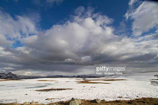 Snow field with cloudy sky
