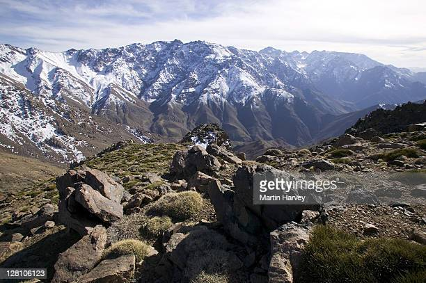 Snow fields in the Oukaimeden region of the high Atlas mountains. Altitude of about 3300 meters. Morocco