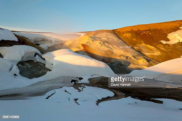 Snow filled Geothermal crater