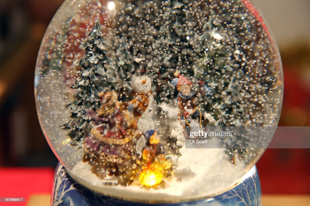 A snow globe featuring a winter snow scene at the 'Ideal Home Show at Christmas' on November 13, 2013 in London, England. Over 80,000 visitors are expected to attend the 5 day event which showcases a range of gift ideas for Christmas in the Earls Court exhibition centre.