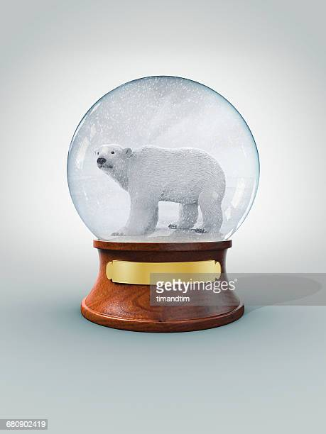 Snow globe with polar bear in a snow storm