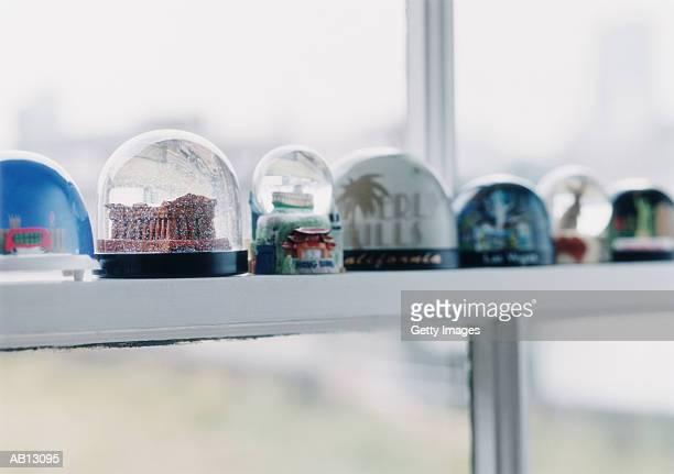 Snow globes on windowsill