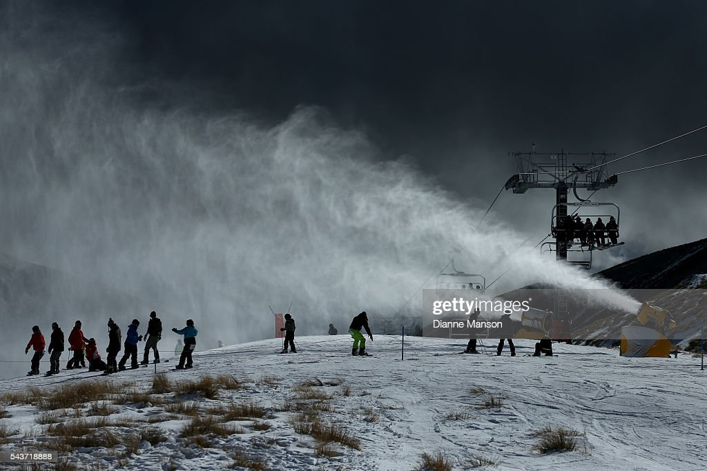Snow guns in action due to warm weather reducing the snow levels during the DB Export Dog Derby at the Remarkables ski field on June 30, 2016 in Queenstown, New Zealand.