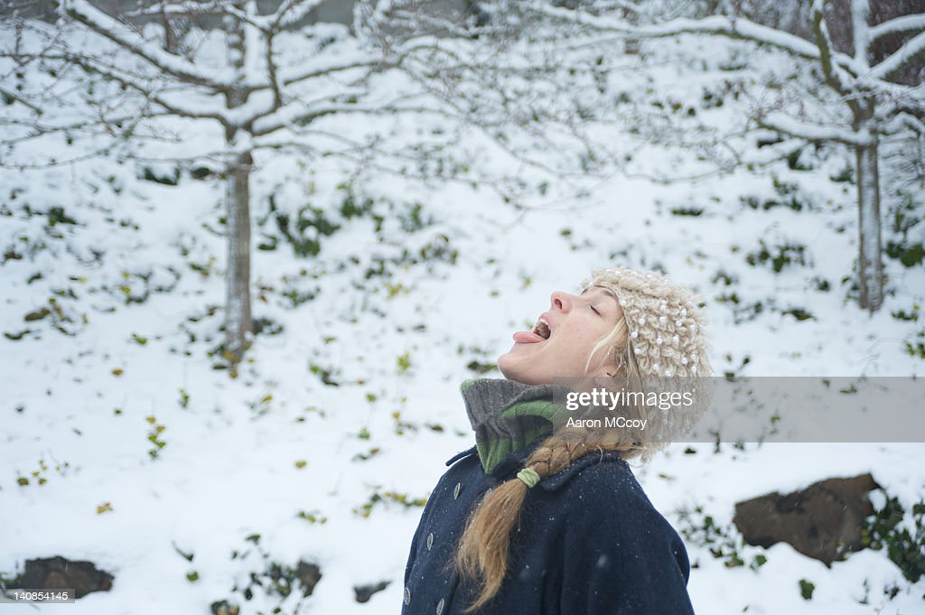 Snow in the mouth : Stock Photo