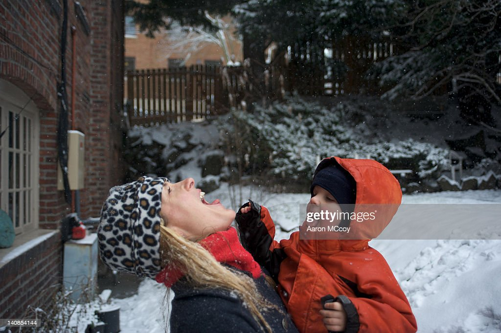 Snow in the yard : Stock Photo