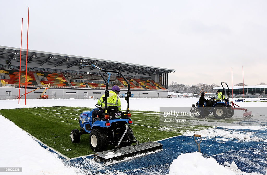 Snow is cleared from the new synthetic pictch during a Saracens media day at Allianz Park on January 21, 2013 in Barnet, England.