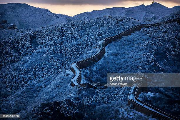 Snow is seen on the Great Wall after a snowfall on November 23 2015 near Beijing China China's capital and the northern part of the country received...