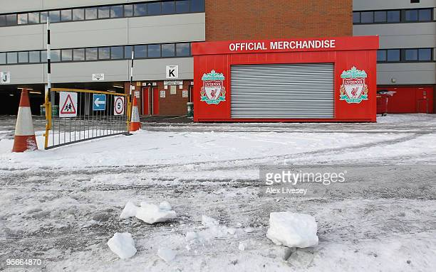 Snow is seen outside Anfield the home ground of Liverpool FC as hazardous conditions has led to their Barclays Premier League match against Tottenham...