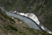 Snow melting on the mountains is seen on the way to the Amarnath Pilgrimage one of the most revered of Hindu shrines on June 30 2011 near Baltal...