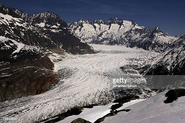 Snow melts at Aletsch Glacier south to north from Moosfluo point April 21 2007 near Brig Switzerland The Aletsch Glacier is the largest glacier in...