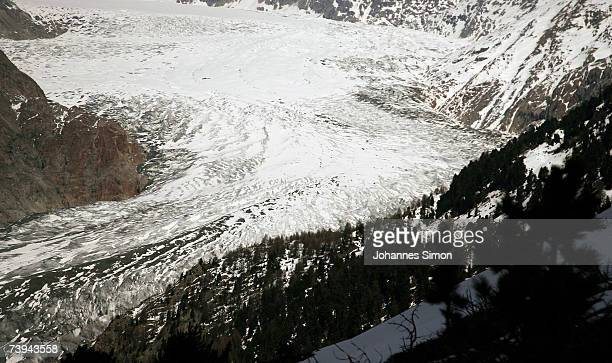 Snow melts at the Aletsch Glacier from Hofluh point April 21 2007 near Brig Switzerland The Aletsch Glacier is the largest glacier in the Alps...