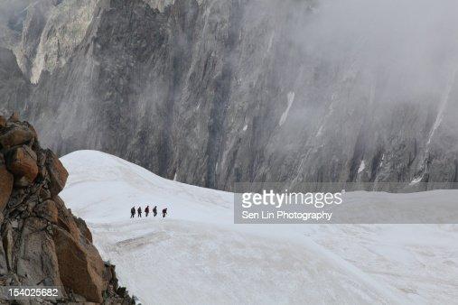 Snow mountain-climbing : Stock Photo