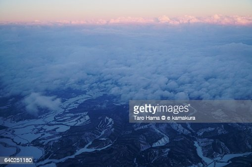 Snow mountains in Hokkaido aerial view from airplane : ストックフォト
