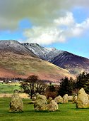 Snow on Blencathra from Castle Rigg stone circle